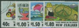 NZ SG2118-21 Kiwi's Taking on the World cartoons set of 4